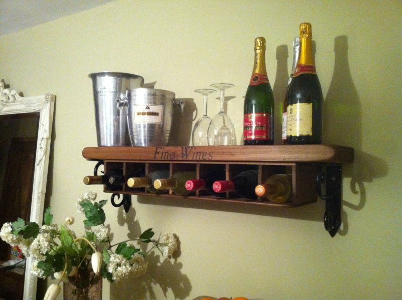 NEW Wine Rack Shelf Wall Mounted Free Standing rustic