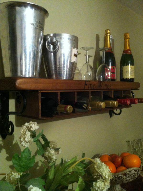 New wine rack shelf wall mounted free standing rustic style kitchen storage - Free standing kitchen storage solutions ...