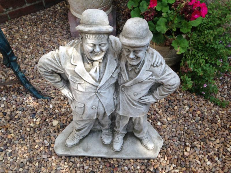 New laurel hardy garden stone ornaments concrete ornament classic double act ebay - Cement cloth garden ornaments ...