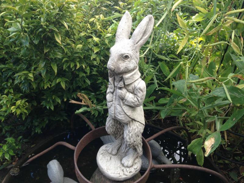 New peter rabbit garden stone ornaments concrete ornament sculpture feature - Cement cloth garden ornaments ...